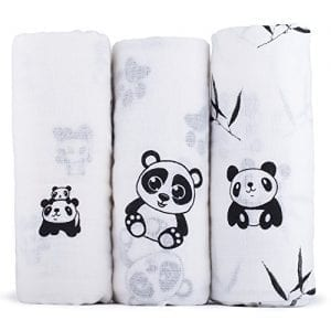 Organic-Cotton-Muslin-Swaddle-Blankets-Ultra-soft-Black-White-Cute-Panda-Print-Baby-Receiving-Blankets-Soft-Absorbent-Breathable-Set-of-3-in-Box-Packaging-Dimensions-47x47-120x120cm-0