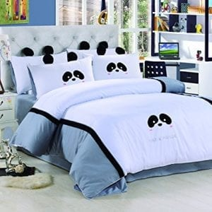 100 cotton cute panda white bedding setdelicate embroidered patch craft cover set for kids twin queen size twin
