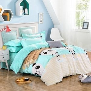 3-pieces-Duvet-cover-and-pillow-shams-Bedding-sets-100-Percent-cotton-Blue-Yellow-Stripe-panda-Prints-Full-3pcs-without-comforter-0