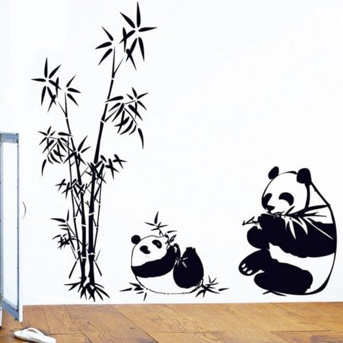 BIBITIME Blacku0026white Mother Baby Pandas Eating Bamboos Wall Stickers Decor  For Bedroom Vinyl Decals