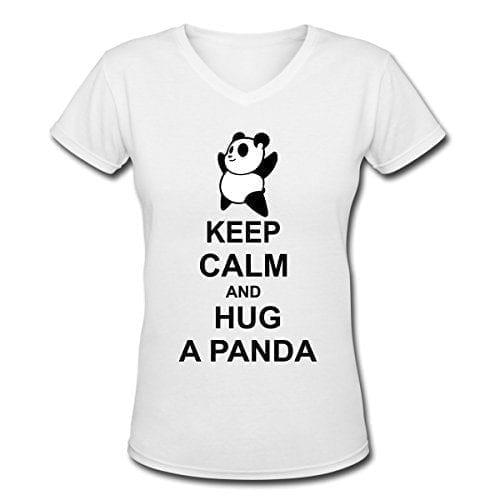 61545560b0fb Keep Calm Hug Panda Women's V-Neck T-Shirt by Spreadshirt, S, white ...