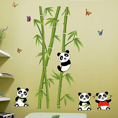 Voberry Home Decor Mural Vinyl Wall Sticker Removable Cute Panda Bamboo Nursery Room Art