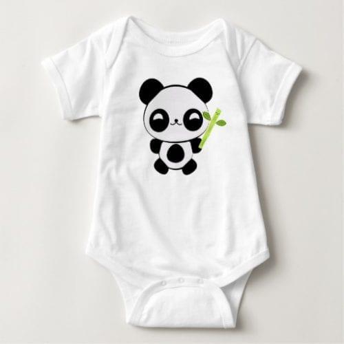 Bamboo Munching Panda Baby Bodysuit
