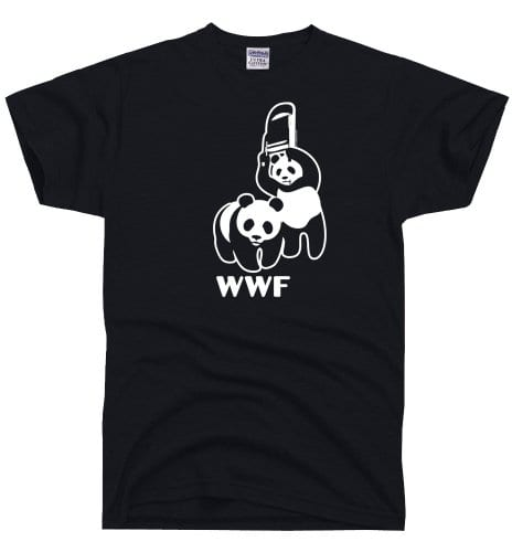 448b2fd0b4 DirtyRagz Men's WWF Funny Panda Bear Wrestling T Shirt L Black ...