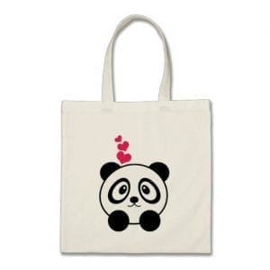 Dreaming Panda Hearts Tote Bag