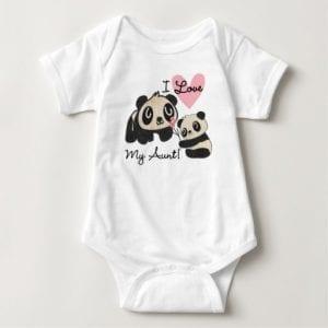 I Love My Aunt Panda Baby Bodysuit