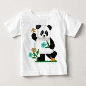 Panda Playing With Flowers Baby T Shirt