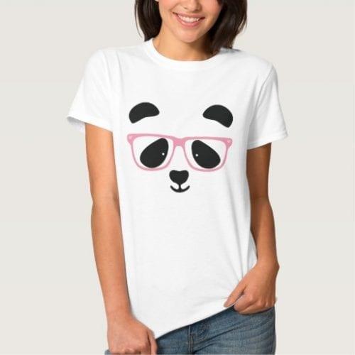 Pink Glasses Panda Face Ladies T Shirt