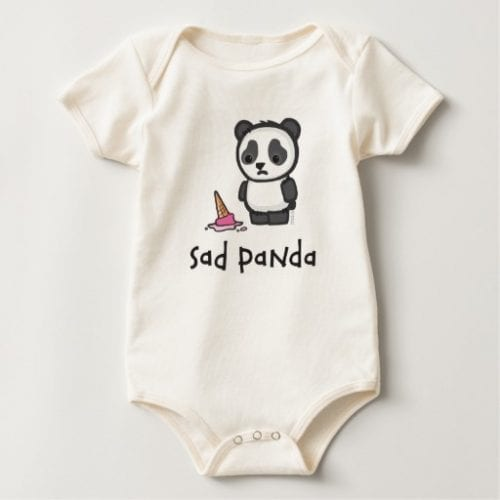 Sad Panda Dropped Ice Cream Baby Bodysuit