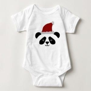 Santa Hat Christmas Panda Baby Bodysuit