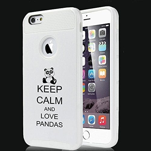 sports shoes 10147 7f32b Apple iPhone 6 6s Shockproof Impact Hard Case Cover Keep Calm and Love  Pandas (White)