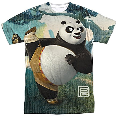 ef7990f63 Kung Fu Panda Cartoon Action Movie Po Stretching Adult Front Print T-Shirt  - Panda Things