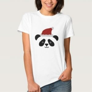 panda wearing a christmas hat tshirt
