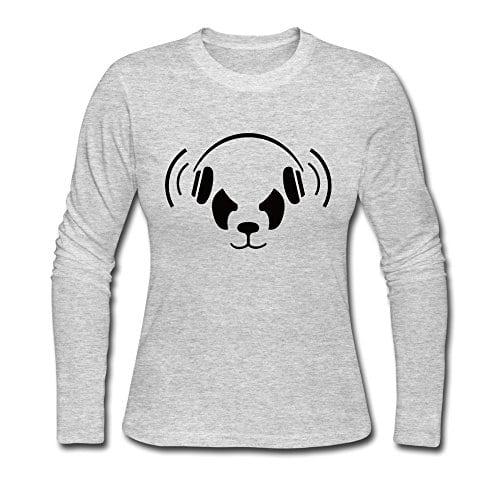 Cool-Nerd-Panda-Long-Sleeve-T-shirt-For-Woman-Gray-Medium-0