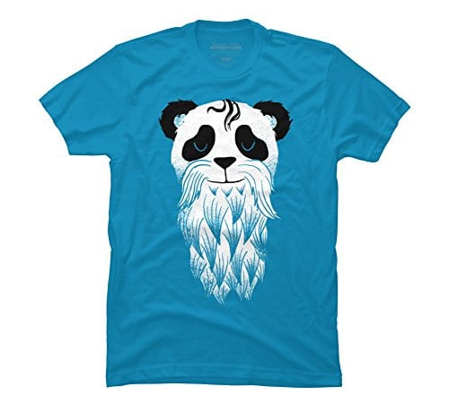 Panda-Beard-Mens-2X-Large-Turquoise-Graphic-T-Shirt-Design-By-Humans-0