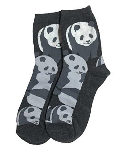 Pandas-Novelty-Cotton-Crew-Socks-Dark-Gray-0