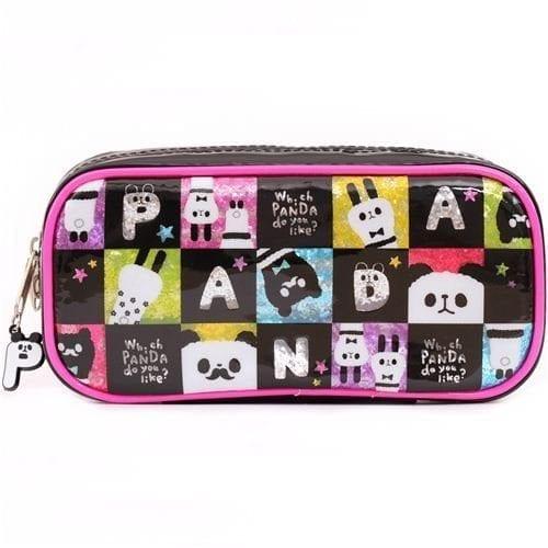 cute-black-and-pink-panda-alpaca-plastic-pencil-case-from-Japan-0
