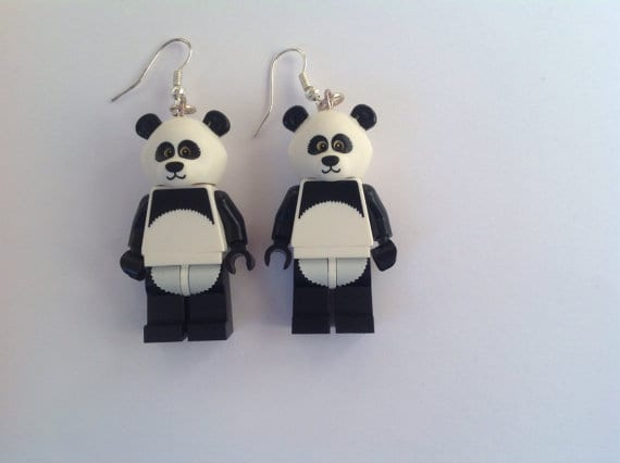 Genuine Lego Minifigure Panda Earrings