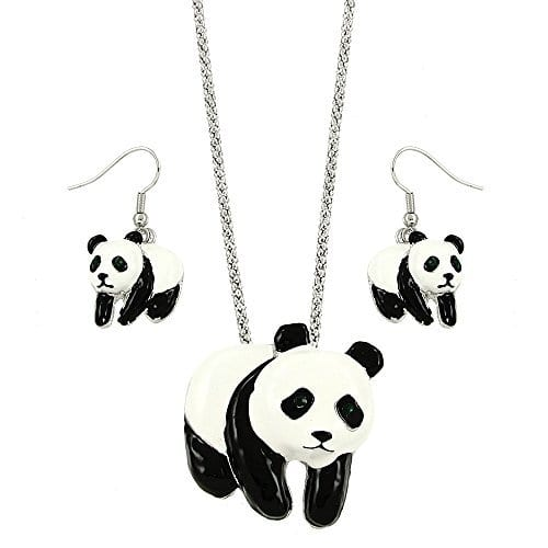 Panda-Charm-Pendant-Fashionable-Necklace-Earrings-Set-Rhinestone-Crystal-Dangle-Post-Fish-Hook-18-Chain-Unique-Gift-and-Souvenir-0