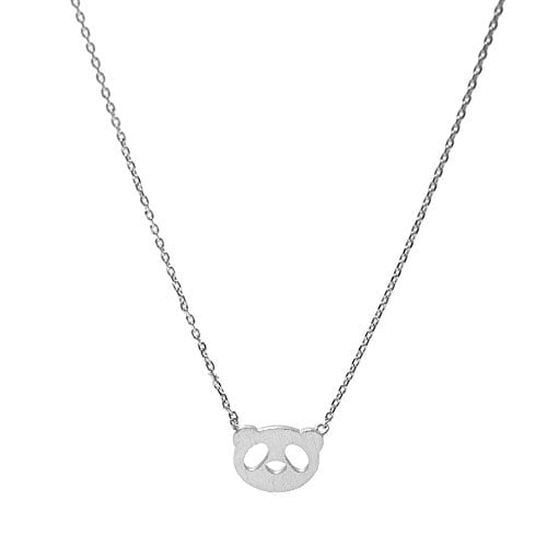 Spinningdaisy-Handcrafted-Brushed-Metal-Panda-Head-Necklace-Silver-0
