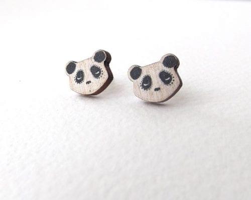 wooden sleeping panda stud earrings