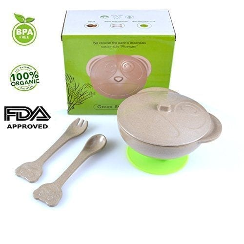 5-piece-Kids-Dinnerware-Set-Including-One-Bowl-with-Lidspoon-Fork-and-Suction-100-Organiceco-friendlybio-degradable-MaterialFDA-ApprovedBPA-Free-Complete-baby-feeding-setFREE-eBook-included-0