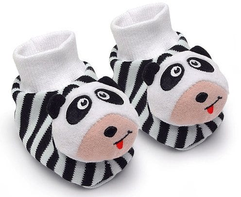 Black-White-Pair-of-Panda-Baby-Booties-Foot-Rattles-0