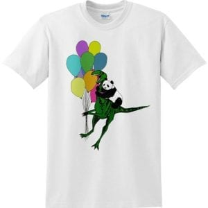 panda riding a dinosaur with balloons tshirt