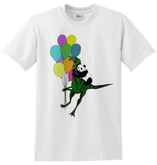 panda riding a dinosaur with balloons tshirt