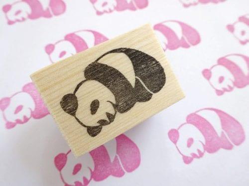 panda print stamp wood block