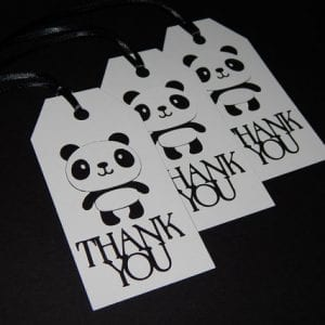 gift wrapping tags with panda thank you