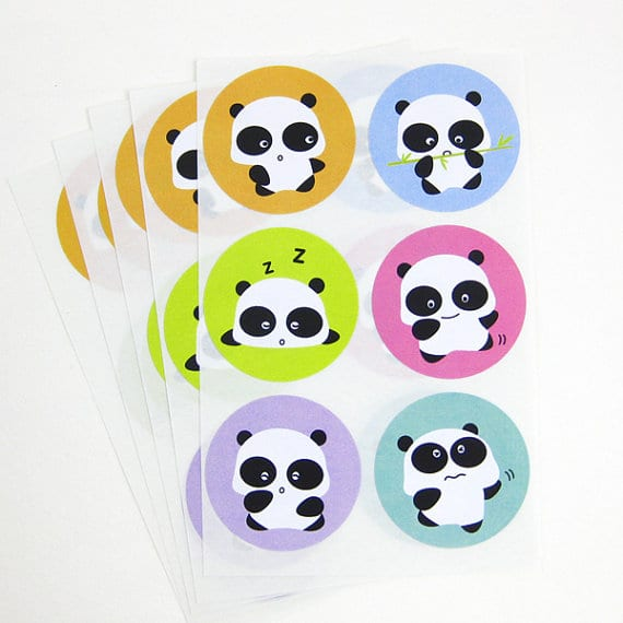 multi colored panda circle stickers