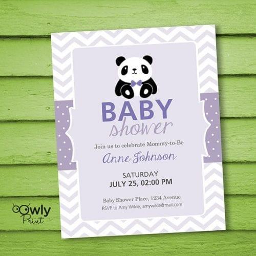 panda baby shower personalized invitations