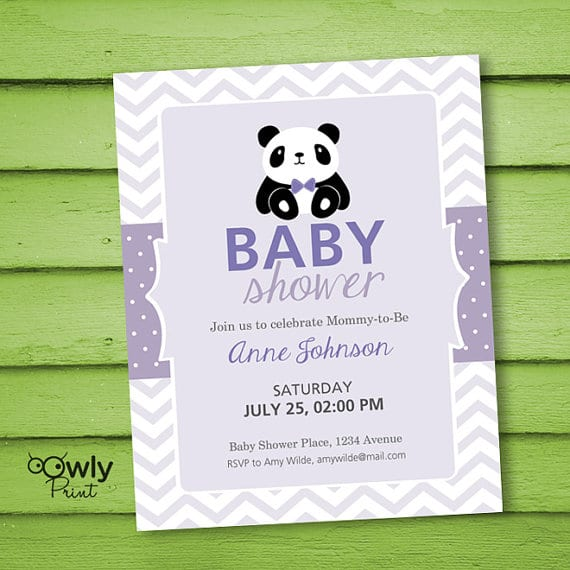 panda baby shower personalized invitations