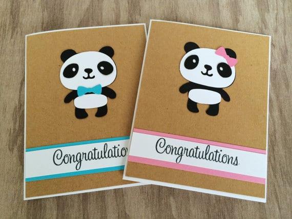 panda baby shower cards congratulations