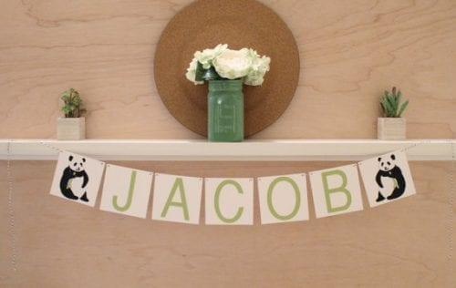 panda baby shower name banner