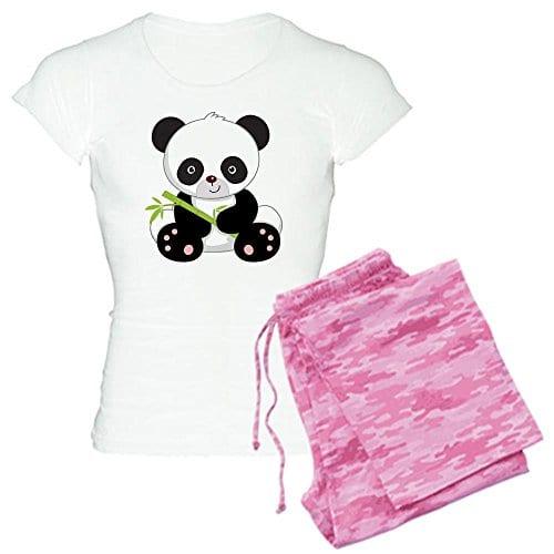40f2df574 CafePress Women's Light Pajamas – Panda With Bamboo pajamas – S With Pink  Camo Pant
