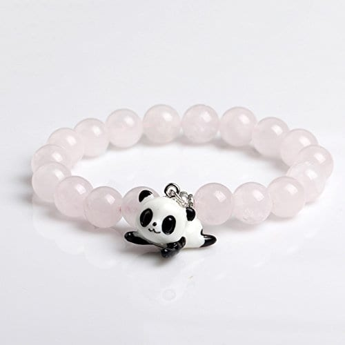 Pink Crystal Round Bead Stretch Bracelet With Panda