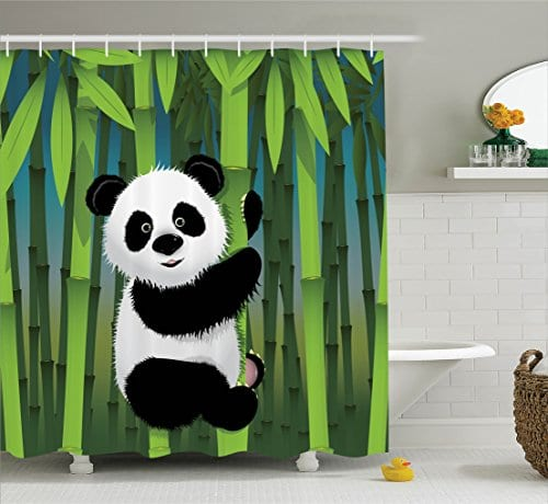 Baby Panda And Bamboo Patterned Polyester Fabric Bathroom Shower Curtain 75 Inches Long