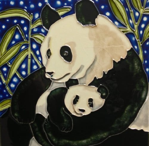 Continental Art Center BD-0417 8 by 8-Inch Panda Mother and a Baby Ceramic  Art Tile