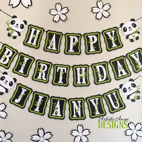 panda themed customizable name birthday banner panda things