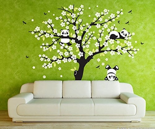 AmazingWall 220x180CM/78.7×70.9u2033 Sakura Tree Panda Wall Sticker Living Room  ...