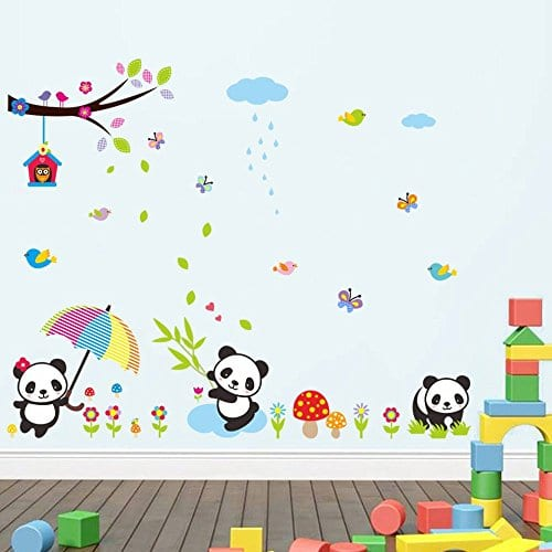 Lovely Panda Birds flowers and Bamboo Wall Stickers Removable Wall Vinly  Decal Decor for Girls and Boys Nursery Room Children\'s Bedroom