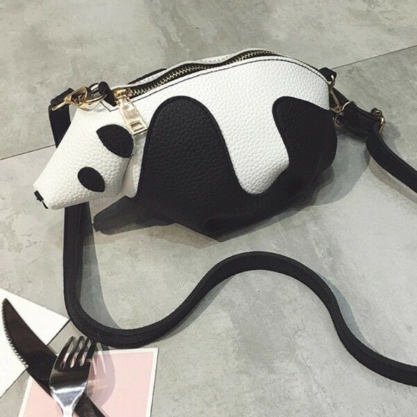 681db21a 3D Cute Women Panda Bag Unique Messenger Bag Ladies Clamp PU Leather ...