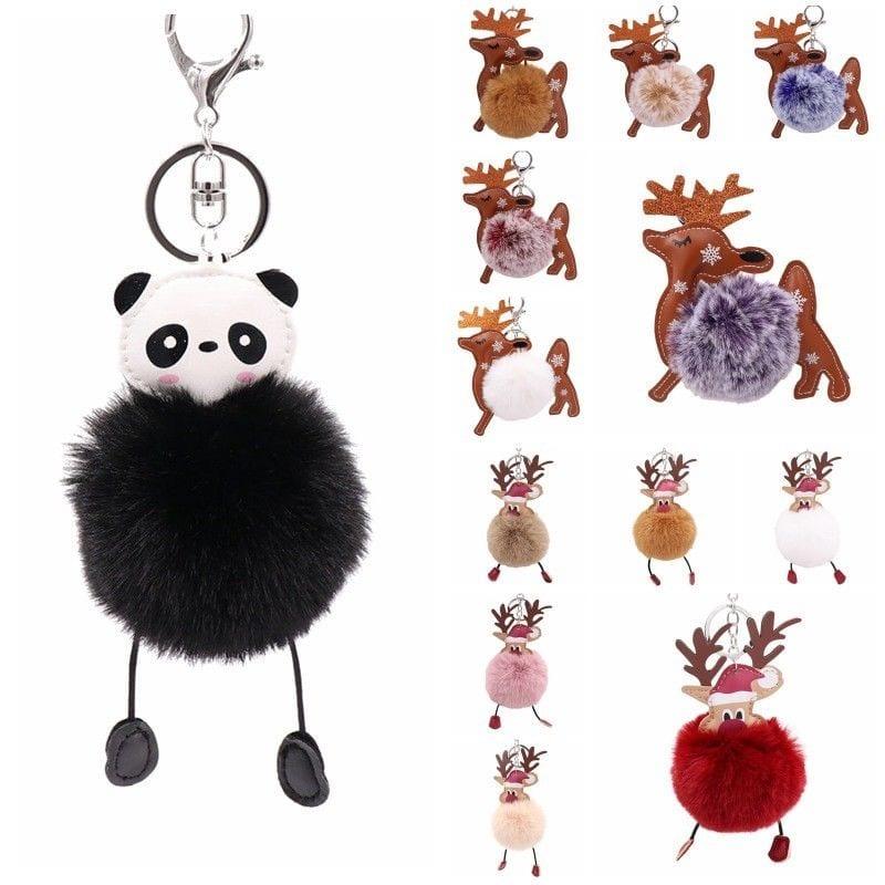 Elk Panda Keychain Keyring Women Kids Handbag Key Ring PomPom Bag Charm  Pendant 9cbd55f5a6