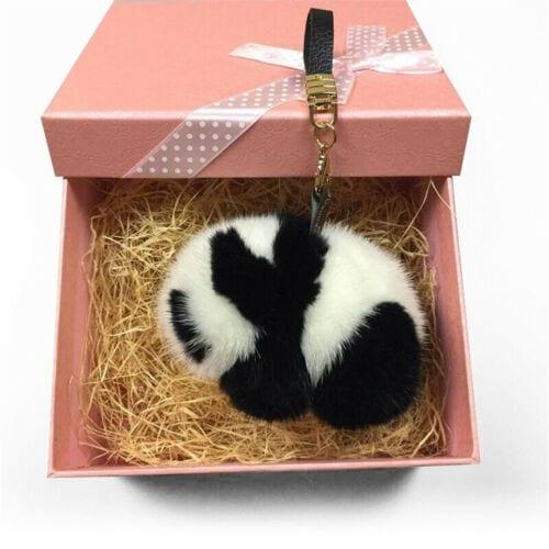 Fluffy Panda Keychain Christmas Gifts Mink Fur Key Chain Charm ... 5ead274759c5
