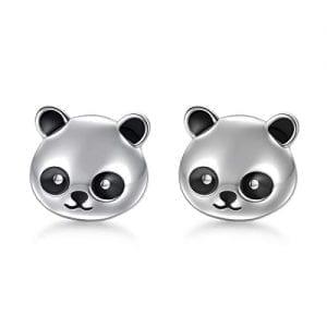 Girls Hanging Panda Hoops 925 Sterling Silver
