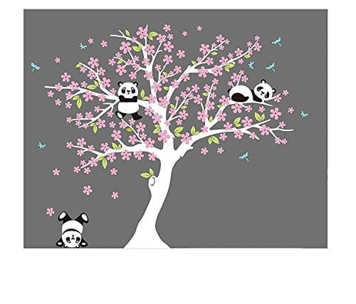 Aiyang Cherry Blossom Tree Wall Decal Panda Decals For Nursery Baby Room Decoration White Pink