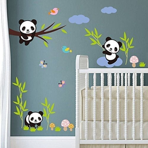 Bibitime Forests Birds Butterfly Panda Family Wall Decor Kids Baby Nursery Bedroom Stickers Mural Decals Panda Things