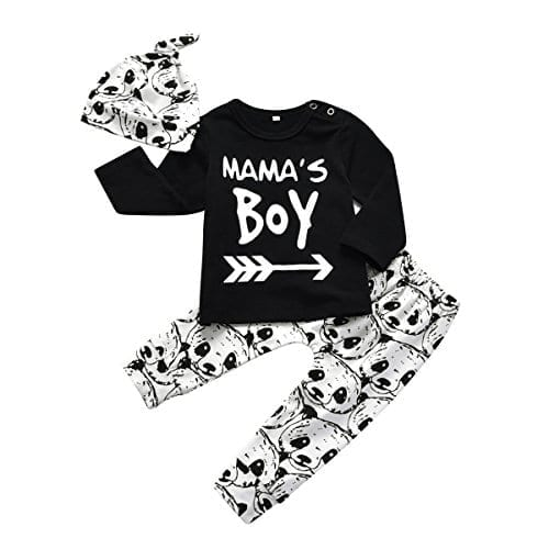 07d44c4bb Baby Boy 3Pcs Clothes Set Mama's Boy Long Sleeve T-Shirt Tops Cartoon Panda  Pants and Hat (0-6 Months)